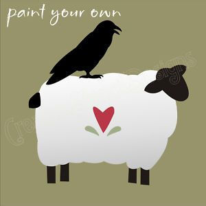free primitive stencils | Primitive Stencil Sheep Crow Folk Art Country Heart | eBay