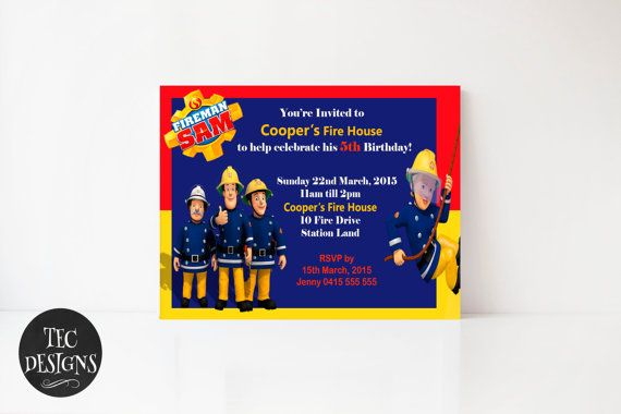 Fireman Same Birthday Invitation Edit and Print your by TECDesigns
