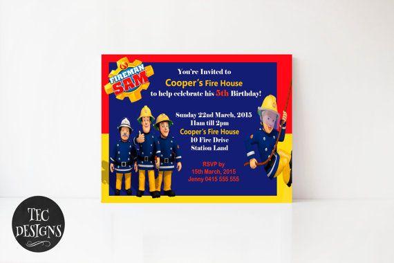 Fireman Same Birthday Invitation Edit and Print your by TECDesigns