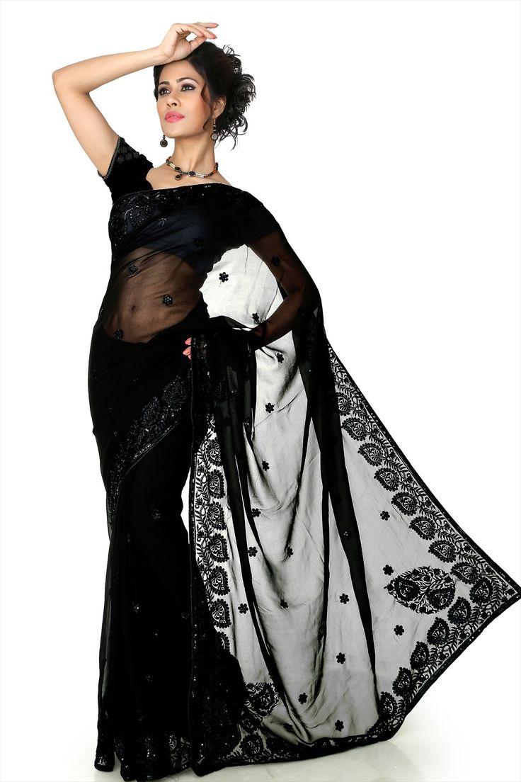 #Black Faux #Georgette Saree