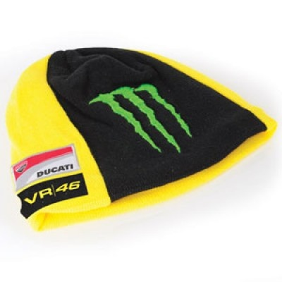 Official 2012 Valentino Rossi Merchandise    Adult Valentino Rossi Monster Ducati Beanie    This Valentino Rossi beanie is a real essential for keeping any Rossi fan's head warm and is perfect for on cold race days! With a great selection of Rossi logos including the Monster sponsor logo, Ducati team logo, 46, VR46 and the new Sun and Moon logos (famous with Rossi), this beanie is the top choice for the winter months.    This would make a perfect gift for any Rossi fan before his move to…