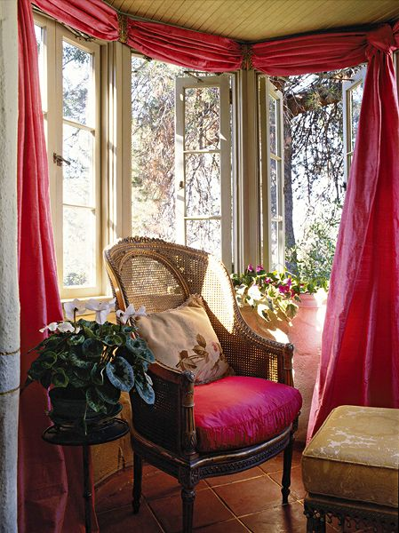 Linda Chase Associates | Private Residence- Los Angeles, CA: Sunroom Draperi, Window Sheer, Breakfast Nooks, Color, Chairs, Curtains Ideas, Window Dresses, Window Treatments, Bays Window