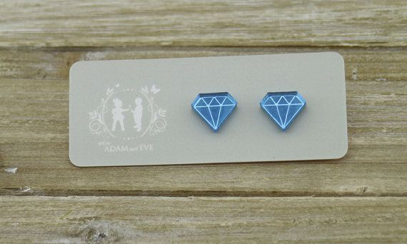 Hey, I found this really awesome Etsy listing at https://www.etsy.com/listing/276973602/blue-mirrored-diamond-shaped-stud