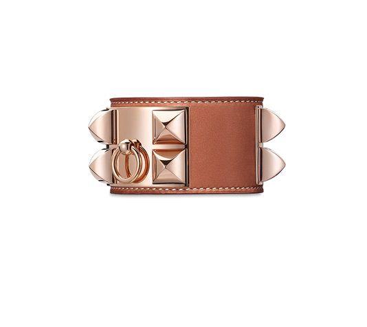 Bracelet en veau Barénia, fermoir plaqué or rose (tour de poignet : jusqu'à 17 cm)