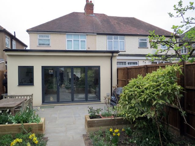 single storey flat roof extension joins pitched roof - Google Search