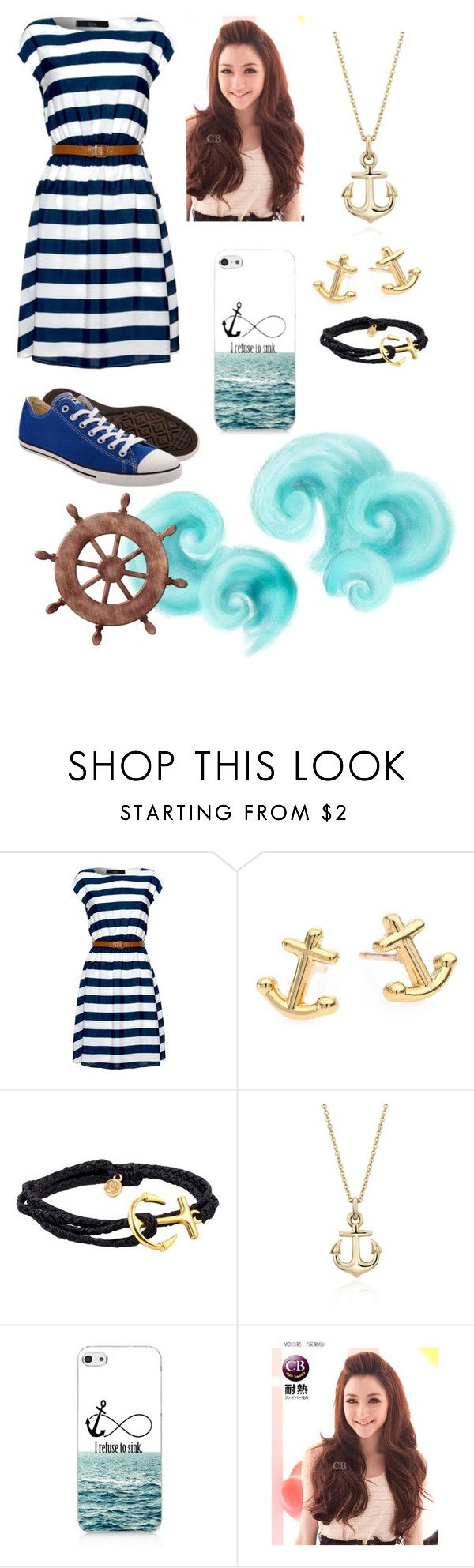 """""""In the marine"""" by zebralover-333 ❤ liked on Polyvore featuring Iska, Kate Spade, Pura Vida, Blue Nile, Retrò, Clair Beauty and Converse"""