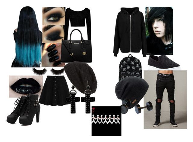 """EMO #1"" by elineriksson-1 on Polyvore featuring Floss Gloss, shu uemura, George, Boohoo, MICHAEL Michael Kors, Top Guy, BLK DNM, Coal, David & Young and Tarina Tarantino"