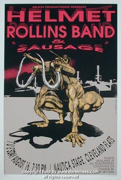 1994 Helmet w/ Rollins Band (94-18) Concert Poster by Derek Hess