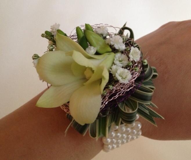 Beautiful wedding wrist corsage. Chanan's Floral Events