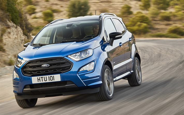 Download wallpapers Ford EcoSport, 4k, 2017 cars, crossovers, road, blue EcoSport, Ford