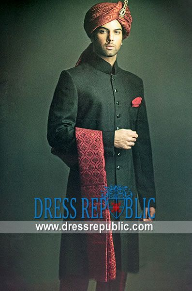 Style DRM1123, Product code: DRM1123, by www.dressrepublic.com - Keywords: Amir Adnan Sherwani Collection, Deepak Perwani Sherwanis Collection, Junaid Jamshed Sherwani Online