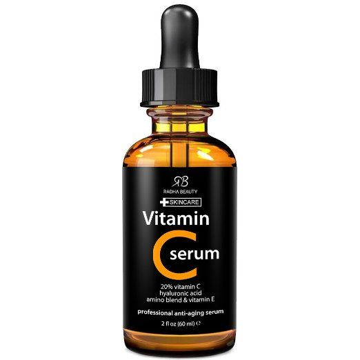 Amazon.com:  $15.95  BEST VITAMIN C Serum for Face - 2 fl. oz - 20% organic Vit C + E + Hyaluronic Acid - Professional Facial Skin Care Formula that helps Repair Sun Damage and Fade Age Spots - Radha Beauty: Beauty