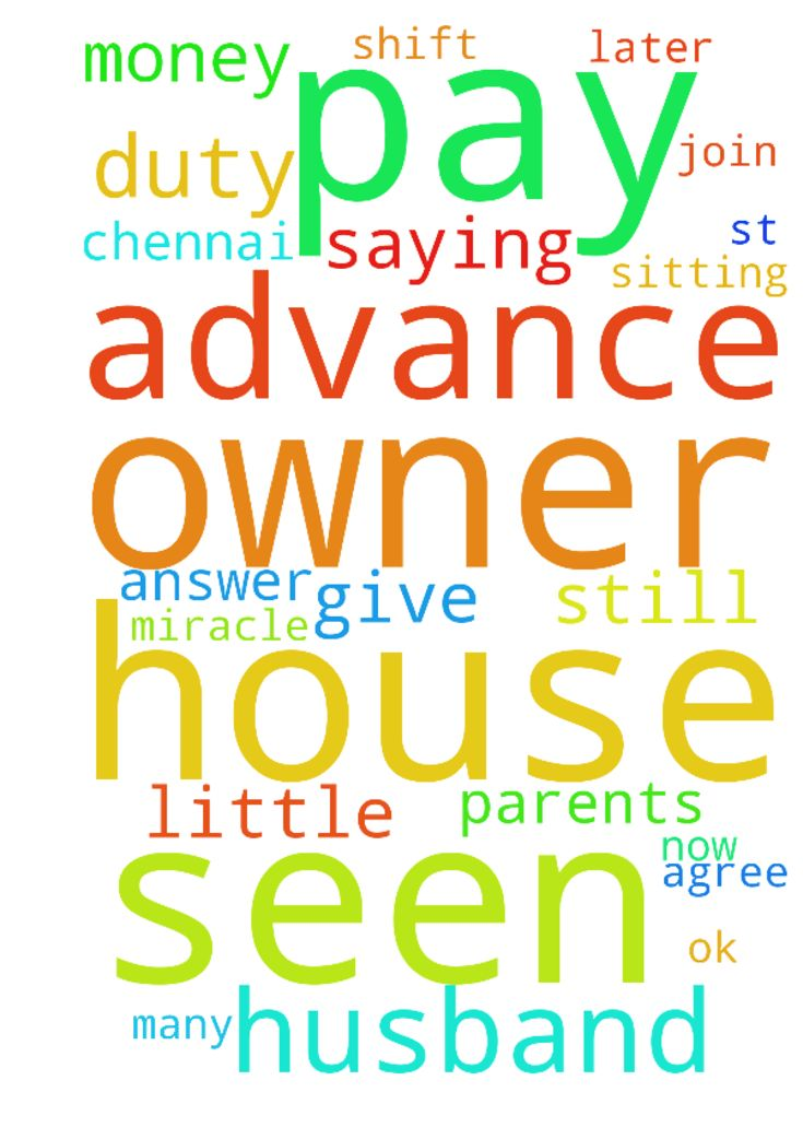 please pray for me that my husband has seen a house - please pray for me that my husband has seen a house for 6.5k in chennai and he is ok with that for us and the owner is saying to pay advance which we cannot pay now lord let owner agree that we give advance little later i need miracle on 1st i need to join duty and still am sitting here no money to shift let my parents help me in jesus name i pray father please answer my prayers i need many prayers please lord Posted at…