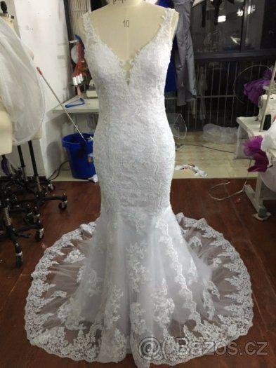 Svatební krajkové šaty 38-40 holá záda - 1