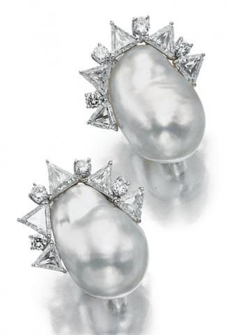 Pair of Baroque Cultured Pearl and Diamond Earclips for Sale at Auction on Wed, 09/24/2008 - 07:00 - Important Estate Jewelry | Doyle Auction House