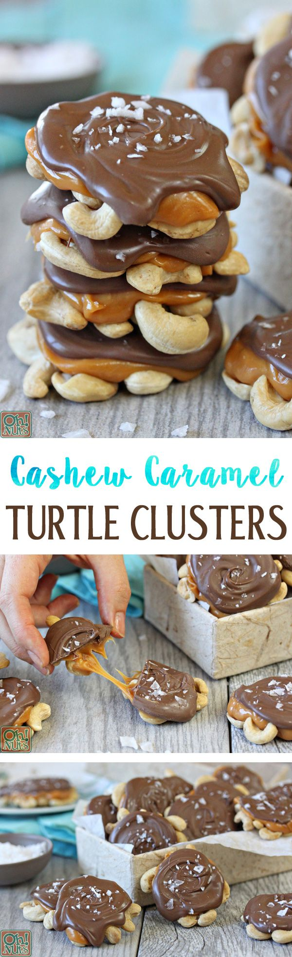 Cashew Caramel Chocolate Turtle Clusters - Give regular turtles a twist by using cashews instead!