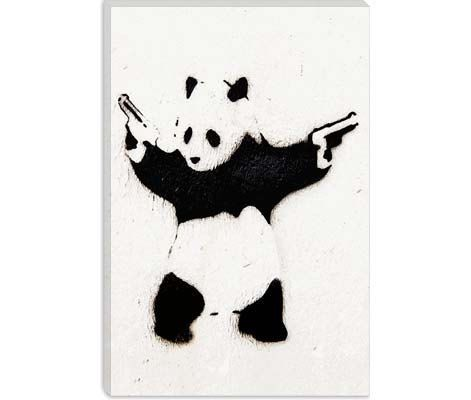 Panda With Guns by Banksy Canvas Art Print on Gallery Wrapped Canvas, banksy canvas prints , Canvas Art Print by CanvasChampUS on Etsy