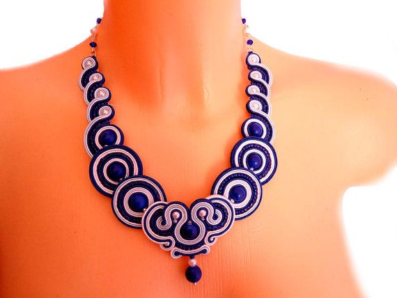 Earrings and Necklace in the soutache by SoutacheByMolicka on Etsy