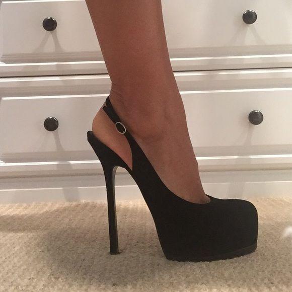 YSL black suede platform heels | Shock And Awe, Black Suede and ...