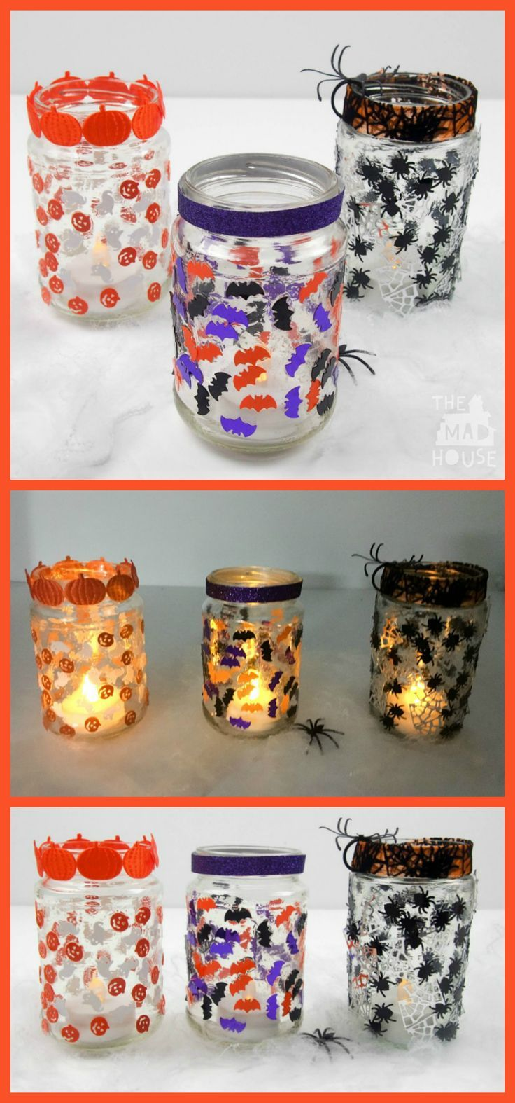 Simple jar lanterns for Halloween.  These beautiful luminaries are a perfect kids craft and look fantastic lit up.