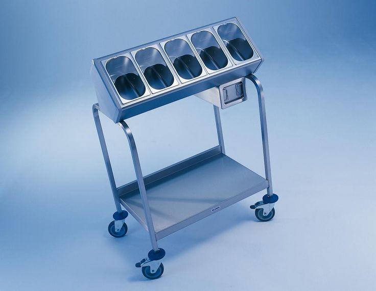 GTARDO.DE:  Edelstahl Besteck- und Tablettwagen, inkl. 5 Besteckbehälter, Maße LxBxH 900 x 600 x 1270 mm 760,00 €