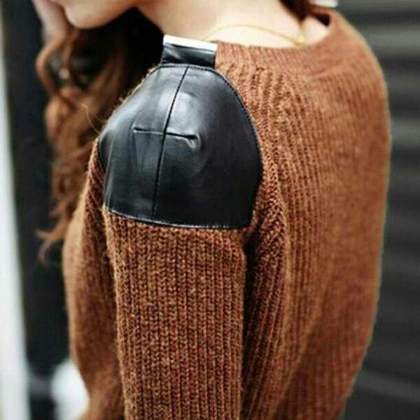 leather shoulder sweater. Genius.  I hate when the shoulder of a sweater gets stretched out.