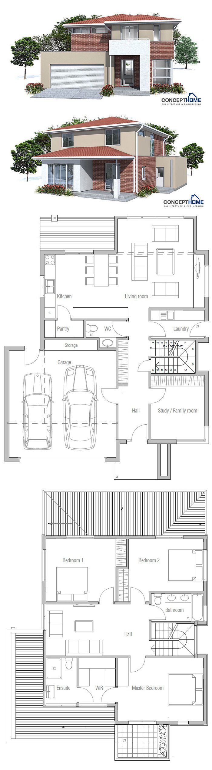 enlarge ensuite to include bath, move door & have robe behind bed. increase lower back to fit island bench & dining table