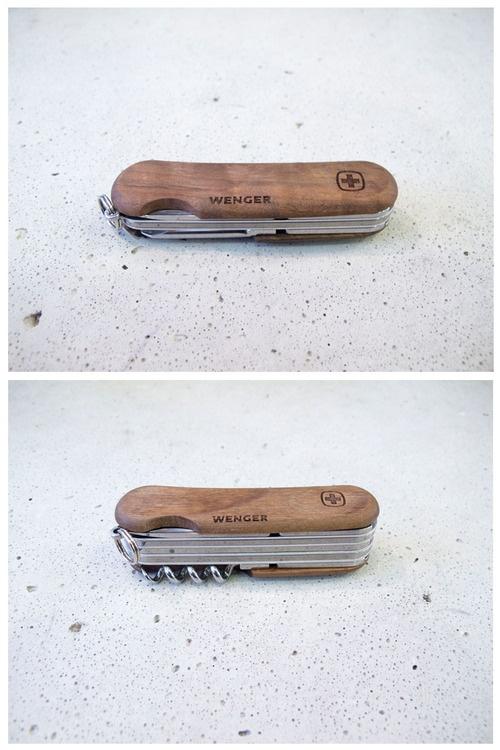 Walnut wood Swiss Army knife.