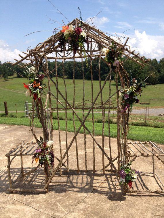 Pavillons de gaules de mariage - ne peut pas expédier, fabriqué sur commande, voûte de jardin, arche de mariage en bois, tonnelle mariage rustique, décoration de mariage de plage