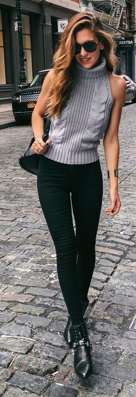 Grey Halter, Turtleneck Tank /  fall fashion essentials.