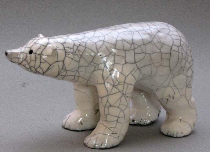 Raku polar bear by Dragonfly Pottery