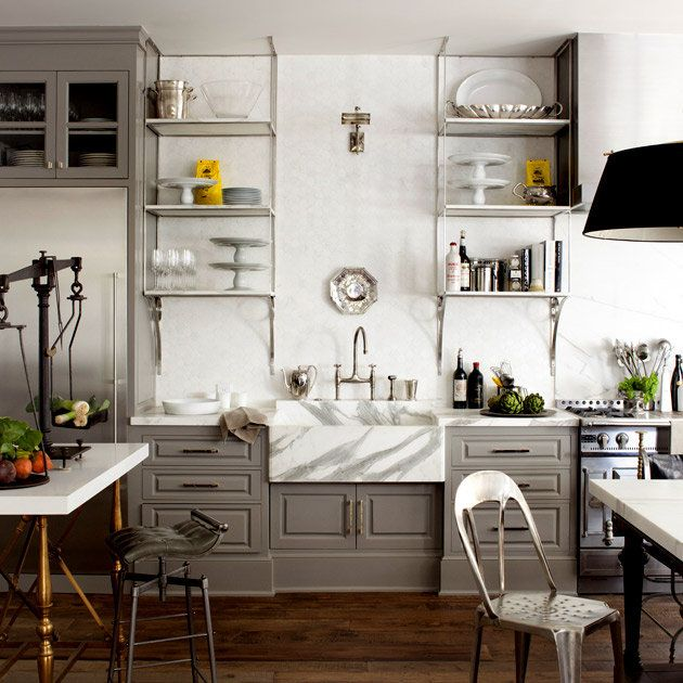 kitchen shelves: Windsor Smith, Open Shelves, Cabinets Colors, Grey Cabinets, Grey Kitchens, Gray Kitchens, Gray Cabinets, Farmhouse Sinks, Kitchens Cabinets
