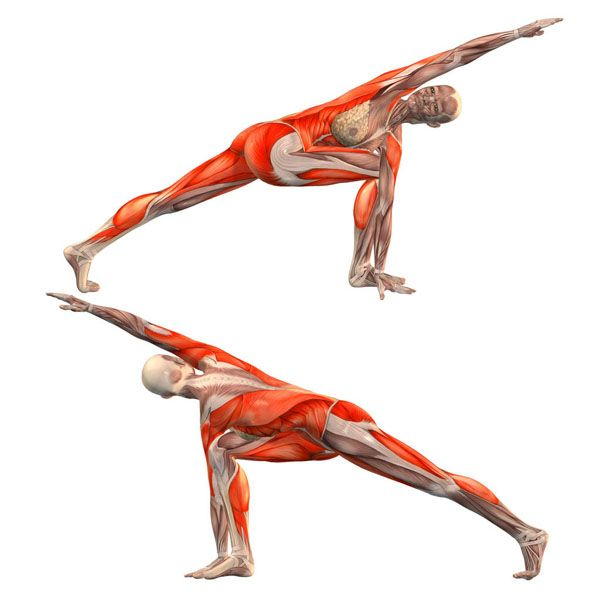 Revolved side angle pose with rotation to right leg ...