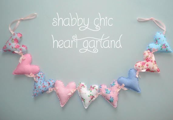 Shabby Chic heart garland Fabric hearts Baby by LittleFairyCottage