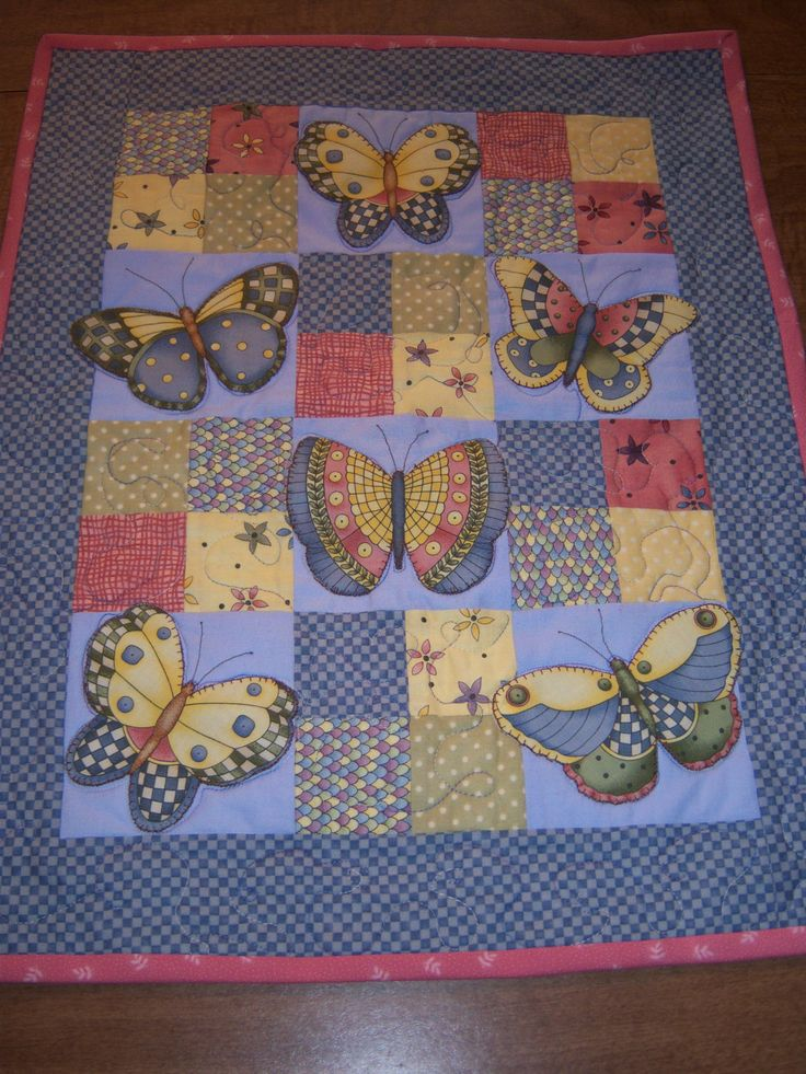 """Doll Quilt with  Appliqued Butterflies!  20""""x17"""". Great for any girls doll! by CreativeCreationsDeb on Etsy"""