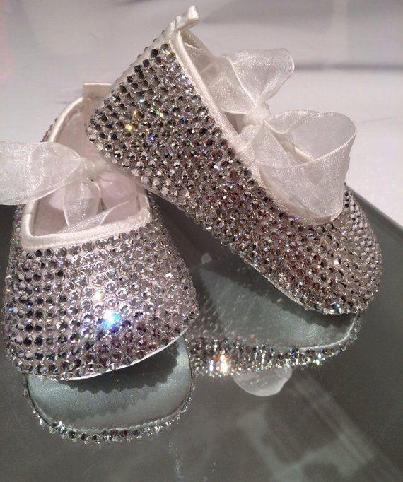 fc8117e8401 Swarovski baby shoes, diamanté ballets, crystal shoes, embellished shoes,  Swarovski ballets, christening shoes, flower girl shoes | Products | Shoes,  ...