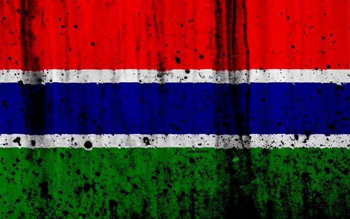 Download wallpapers Gambian flag, 4k, grunge, flag of Gambia, Africa, Gambia, national symbols, Gambia national flag
