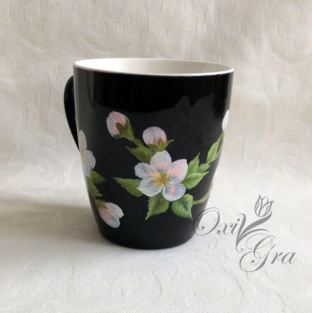 #oxigra #butterflies #porcelain #cup #handpainted #kubek #filizanka  #porcelana #recznie #malowany #kwiat #jablonie #jabloni #wiosna #ornament