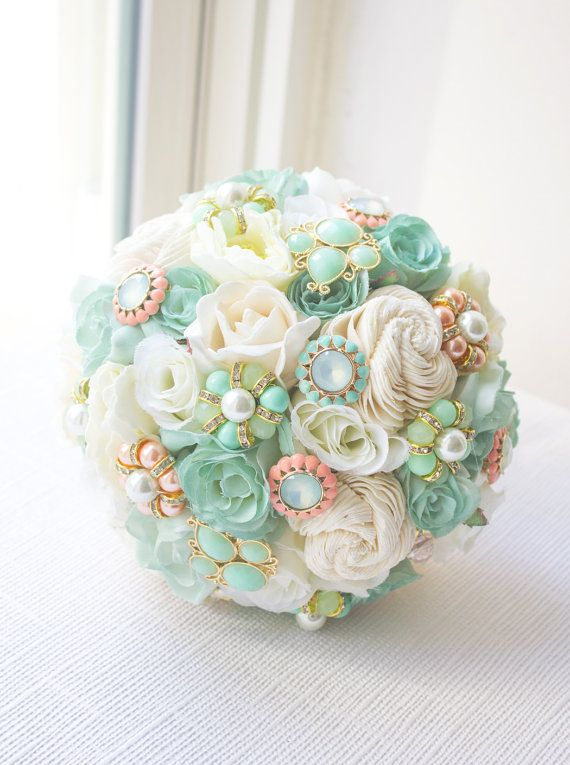 Mint and Peach Bouquet Brooch Bouquet Bridal Bouquet by AOStyles
