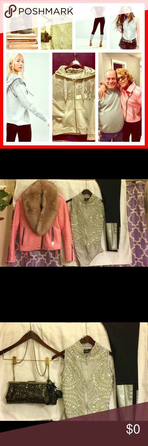 Calvin Klein boots,Black and silver jeans, ect. Calvin Klein ankle boots, Silver embellished zip up bodysuit, Black and silver jeans velvet gray hoodie, Pink leather Moto jacket with or with out pink fur !!! NOT FOR SALE Calvin Klein Collection Other