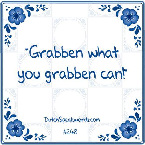 Dutch expressions in English: grijpen wat je grijpen kan