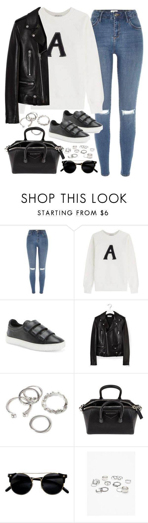 """""""Untitled#4448"""" by fashionnfacts ❤ liked on Polyvore featuring River Island, AG Adriano Goldschmied, rag & bone, Yves Saint Laurent, Forever 21, Givenchy and Free People"""