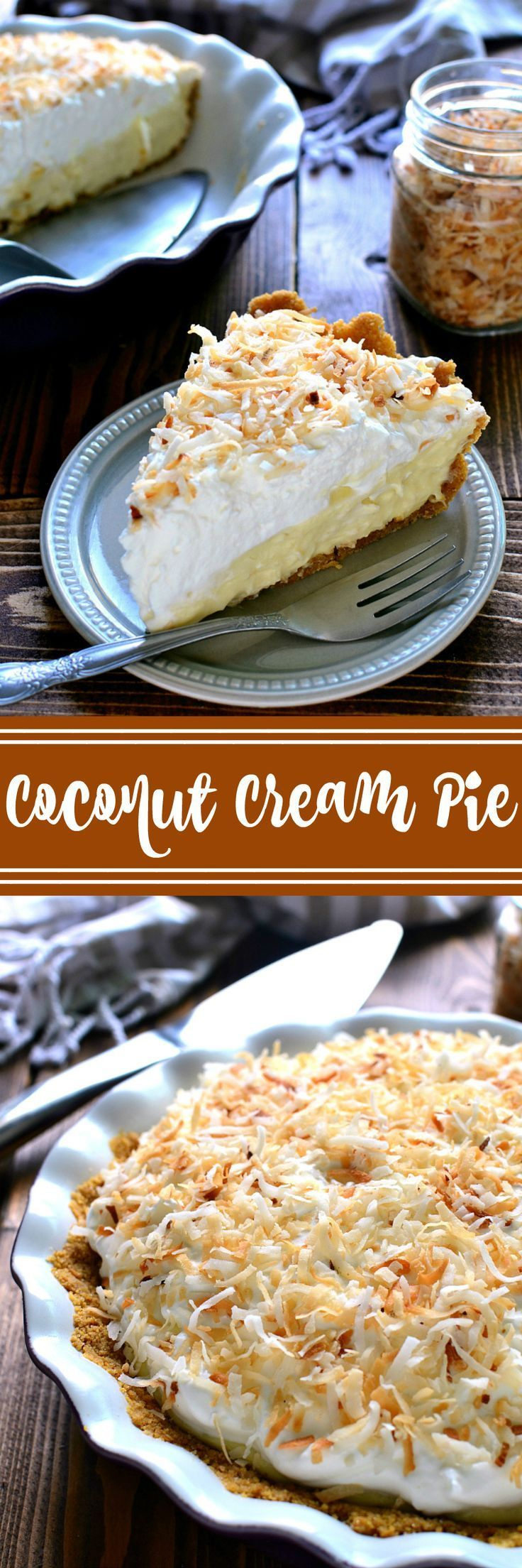This Coconut Cream Pie is smooth and luscious and creamy....and filled with the delicious flavors of toasted coconut and vanilla. Perfect for Easter, perfect for spring, the perfect piece of pie!