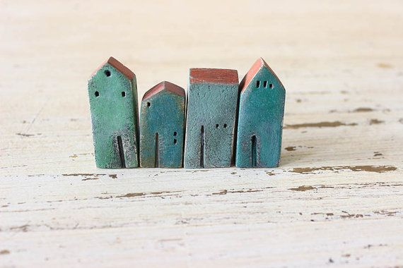 set of 4 ceramic houses  made in high fired by VesnaGusmanClayArt,