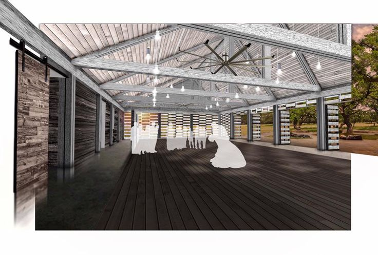 Our beautiful wedding venue dance hall. Architectural rendering by HA Architecture.  Due for completion Fall 2018. See more on our website www.TheCedarsRanch.com