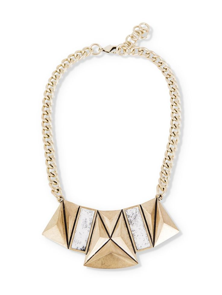 Brass Geometric Pendant Necklace with Emerald Cut Dendritic Agate Stones on  Thick Chain