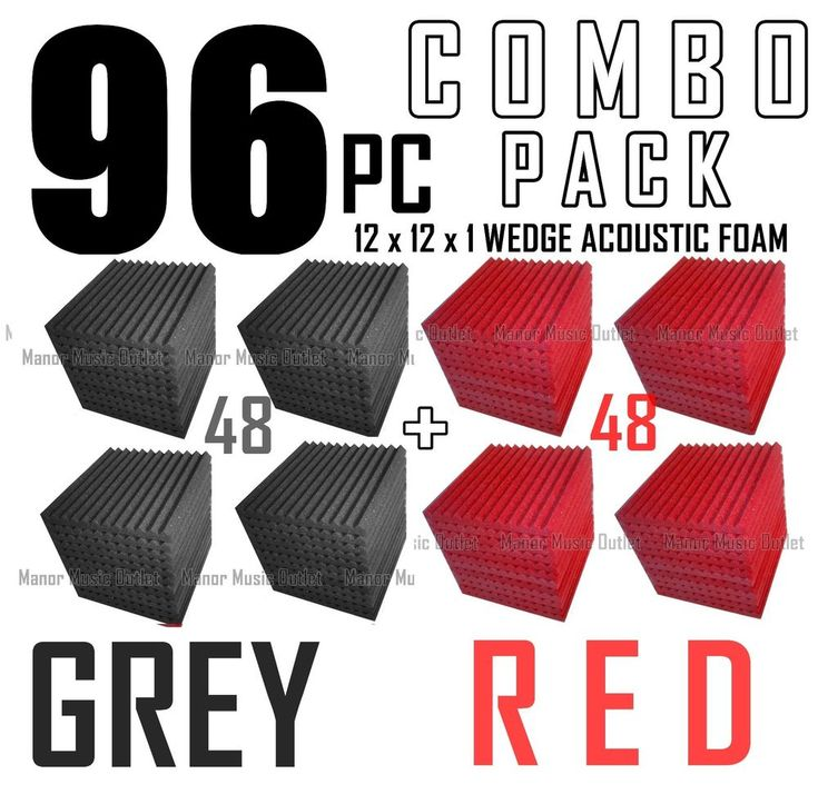 The BIG DEAL ComBo 96 pack GREY &  RED  Acoustic Wedge Sound Studio Foam 12x12x1 #MMX