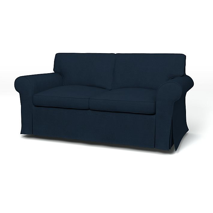 Ektorp Sofa Covers 2 Seater Regular Fit With Piping Using The Fabric Simply Cotton Deep Navy Blue Sofa Covers Sofa Ektorp Sofa