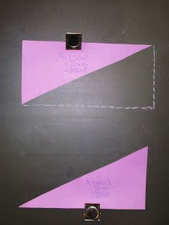 Great way to get kids to discover the formula for the area of a triangle.  Follow-up to the relationship between area and perimeter project.