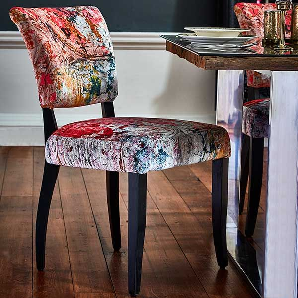 Timothy Oulton Mimi Velvet Faded And Degraded Dining Chair Ling Ceiling